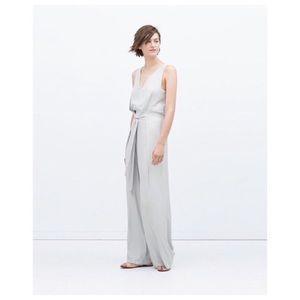Zara pale gray jumpsuit with tie waist